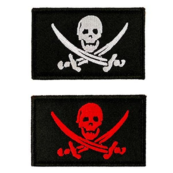 JumpyFire Airsoft Morale Patch 1 JumpyFire Skull Pirate Velcro Patch, 2 PCS Fully 3D Embroidered Military Morale Patches for Backpack Hat Jacket Jeans Uniform
