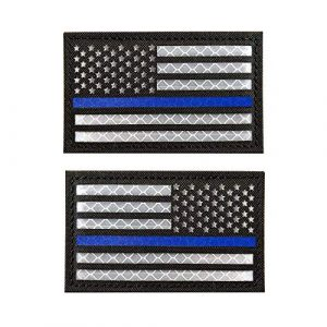 Zhikang68 Airsoft Morale Patch 1 Infrared IR US USA Flag Patch Tactical Military Morale Reflective American Flag Patch Hook&Loop Fastener Emblem Backing Multicam (2 PCS (Blue Line))