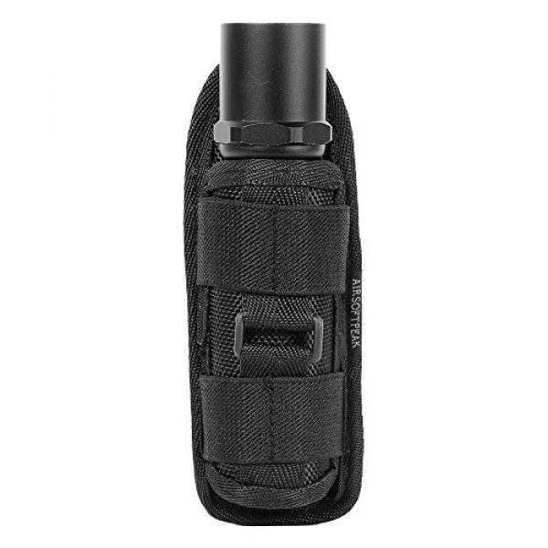 AIRSOFTPEAK Tactical Pouch 2 AIRSOFTPEAK Flashlight Pouch Holster Carry Case Holder with 360 Degrees Rotatable Belt Clip Long Type, Black