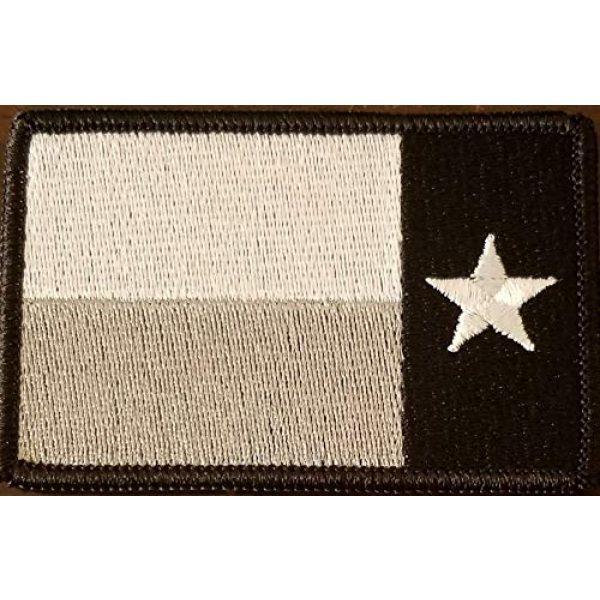 Fast Service Designs Airsoft Morale Patch 2 Texas State Left Reverse Flag Lone Star Embroidered Patch Fastener Backing Hook & Loop Morale Tactical Shoulder Emblem Black Border #8