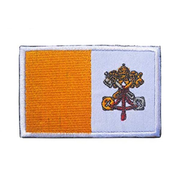 Tactical Embroidery Patch Airsoft Morale Patch 2 2pcs Vatican Flag Embroidery Patch Military Tactical Morale Patch Badges Emblem Applique Hook Patches for Clothes Backpack Accessories