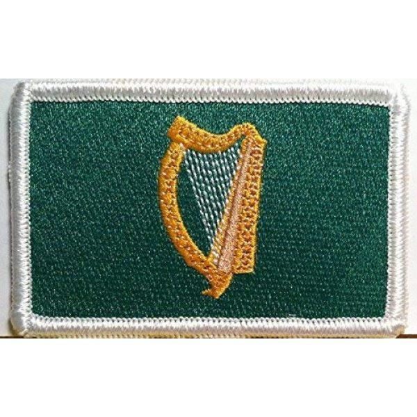 Fast Service Designs Airsoft Morale Patch 1 Ireland Irish Harp Flag Embroidered Patch with Hook & Loop Travel Morale Patriotic MC Biker Shoulder White Border Emblem #3