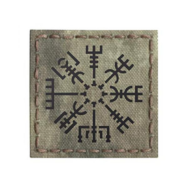 Tactical Freaky Airsoft Morale Patch 1 IR A-TACS AU Vegvisir Viking Norse Heathen 2x2 Arid Tan IFF Tactical Morale Hook-and-Loop Patch