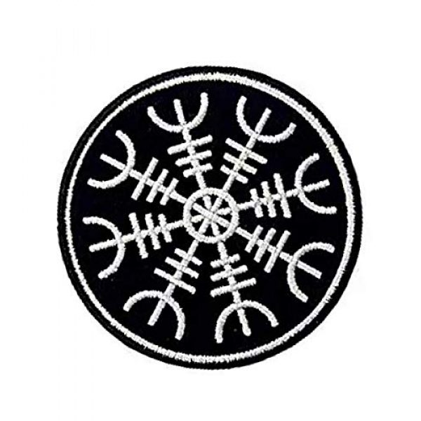 Embroidery Patch Airsoft Morale Patch 2 Viking Helm of Awe Viking Compass Vegvisir Norse Rune Military Hook Loop Tactics Morale Embroidered Patch (color1)