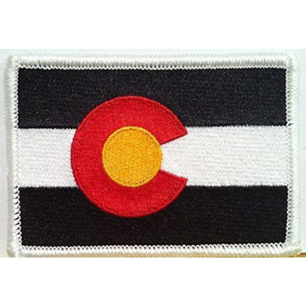Fast Service Designs Airsoft Morale Patch 1 Colorado Flag Embroidered Patch with Hook & Loop Travel Morale Patriotic USA MC Biker Shoulder White Emblem #26