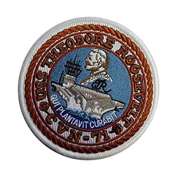 Embroidery Patch Airsoft Morale Patch 3 US USS Theodore Roosevelt CVN-71 Military Hook Loop Tactics Morale Embroidered Patch