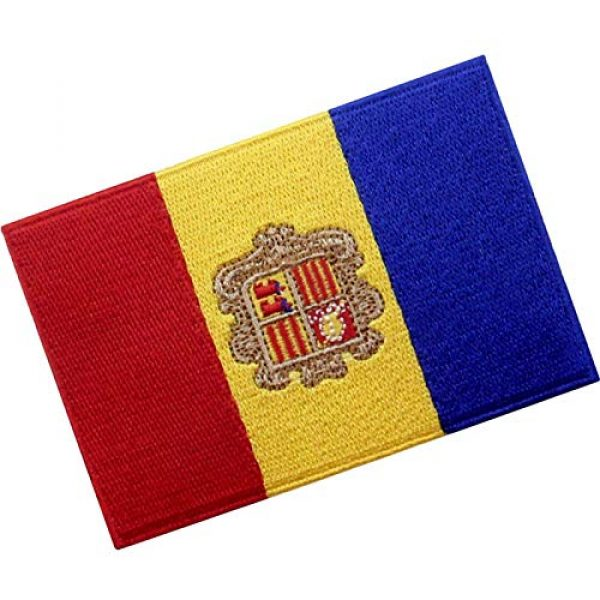 EmbTao Airsoft Morale Patch 3 EmbTao Andorra Flag Patch Embroidered National Morale Applique Iron On Sew On Andorran Emblem