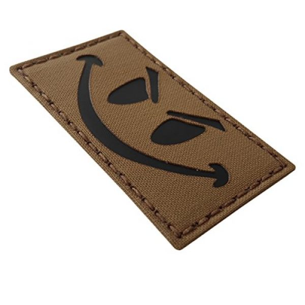 Tactical Freaky Airsoft Morale Patch 5 Coyte Brown Infrared Evil Smiley 3.5x2 Tan Arid Tactical Morale Hook-and-Loop Patch