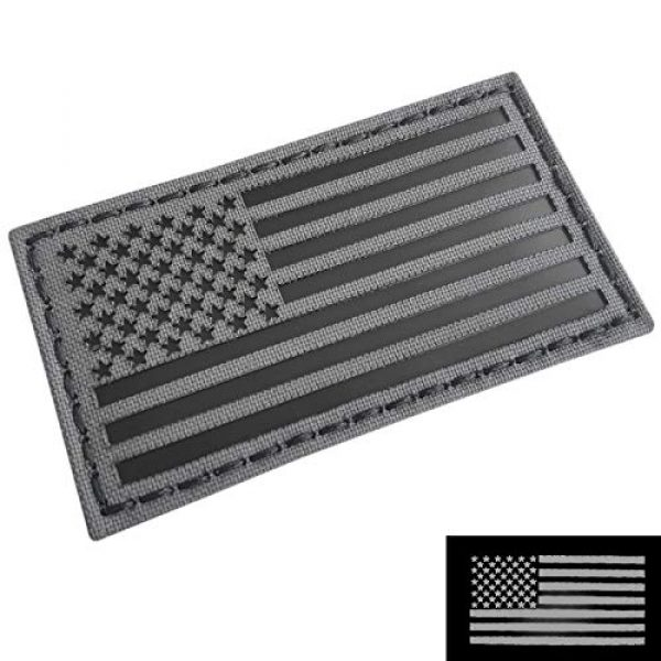 Tactical Freaky Airsoft Morale Patch 3 Tactical Freaky Wolf Gray Bundle Set of 2 pcs IR USA American Flags Forward Reversed Infrared Morale Fastener Patches