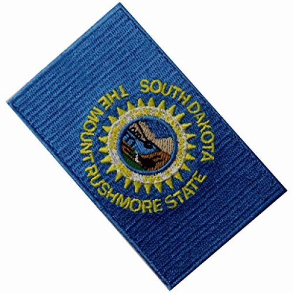 EmbTao Airsoft Morale Patch 4 South Dakota State Flag Embroidered Emblem Iron On Sew On SD Patch