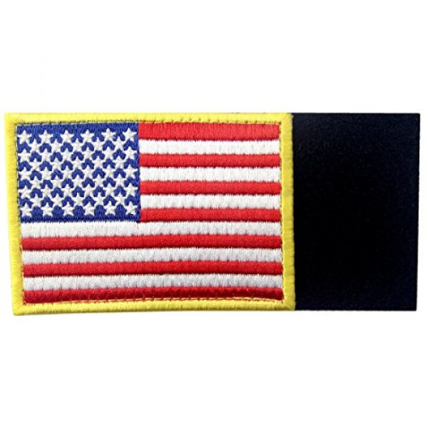 EmbTao Airsoft Morale Patch 5 American Flag Patches Embroidered Gold Border USA United States of America Military Uniform Fastener Hook & Loop Emblem