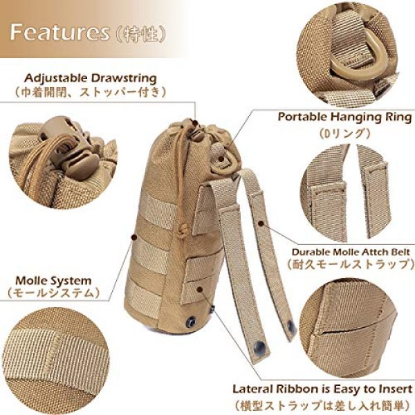 Azarxis Tactical Pouch 3 Azarxis Water Bottles Pouch Bag Tactical Molle Military Drawstring Water Bottle Holder Mesh Hydration Carrier Attachment Travel Outdoor Sports Gear