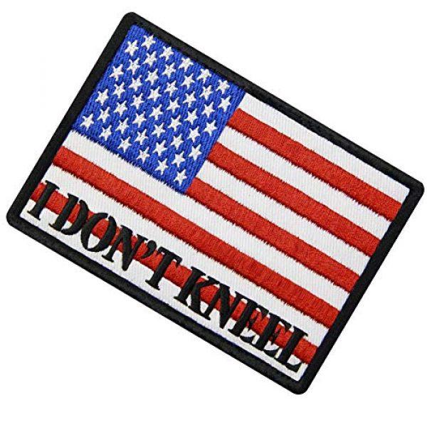 EmbTao Airsoft Morale Patch 4 I Don't Kneel for The Anthem USA Flag Morale Tactical Patch Embroidered Applique Fastener Hook & Loop Emblem