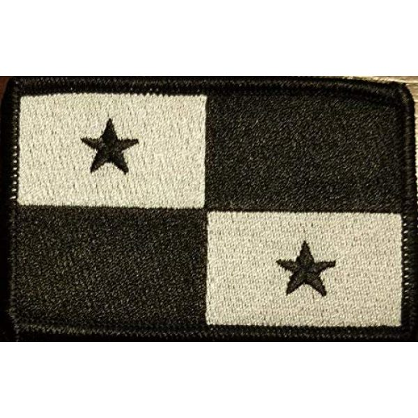 Fast Service Designs Airsoft Morale Patch 1 Panama Flag Patch with Hook & Loop Tactical Morale Black & White Emblem Black Border