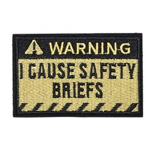 ZHDTW Airsoft Morale Patch 1 ZHDTW Tactical Morale Letter Patches Warning I Cause Safty Briefs Decorative Patches with Hook Loop for Bags, Backpacks, Clothing (DT052)