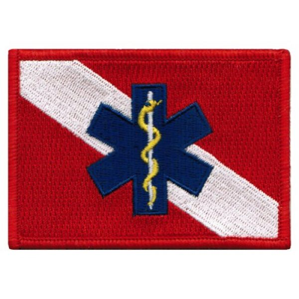 Cypress Collectibles Embroidered Patches Airsoft Morale Patch 1 Rescue Diver Flag Embroidered Patch EMT EMS Star of Life Scuba Diving Iron-On Emblem