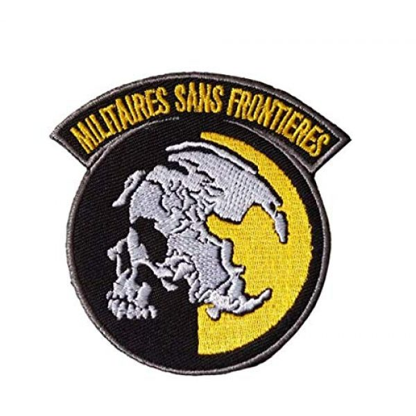Tactical Embroidery Patch Airsoft Morale Patch 1 Metal Gear Solid MGS Peace Walker Militairy Sans Frontieres Embroidery Patch Military Tactical Morale Patch Badges Emblem Applique Hook Patches for Clothes Backpack Accessories