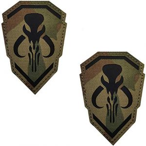 Kseen Airsoft Morale Patch 1 2 Pack IR Bounty Hunter Reflective Mythosaur Infrared Patch Star Wars Mandalorian Tactical Military Fastener Morale Shoulder with Hook and Loop Backing Embroidered CP Patches