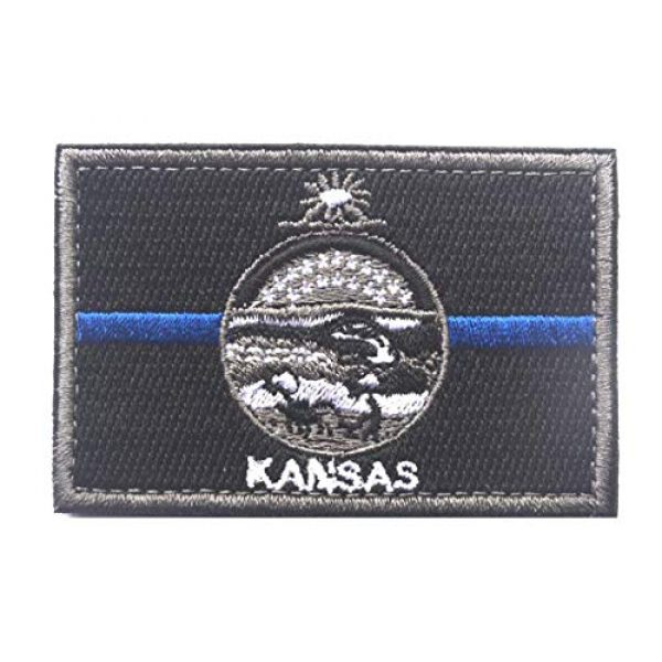 Tactical Embroidery Patch Airsoft Morale Patch 1 State Flag of Kansas Embroidery Patch Military Tactical Morale Patch Badges Emblem Applique Hook Patches for Clothes Backpack Accessories