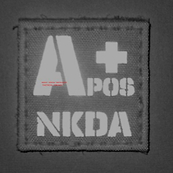 Tactical Freaky Airsoft Morale Patch 2 Multicam Infrared IR APOS NKDA A+ Blood Type 2x2 Tactical Morale Hook&Loop Patch