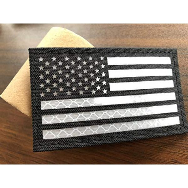 Baotu Airsoft Morale Patch 2 2x3.5 Reflective Black White US USA American Flag Tactical Patches Hook-Fastener Backing (2 Pack)