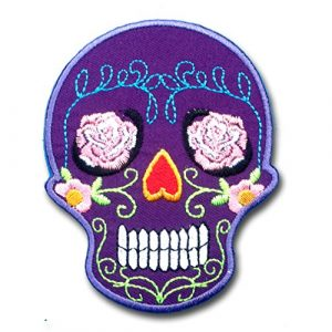 Verani Shop Airsoft Morale Patch 1 Verani Shop Purple Sunny Buick Rose Sugar Skull for Harley Lady Rider Biker Punk Heavy Metal Hard Rock Tatto Embroidered Iron on Badge Emblem Letter Morale Patch
