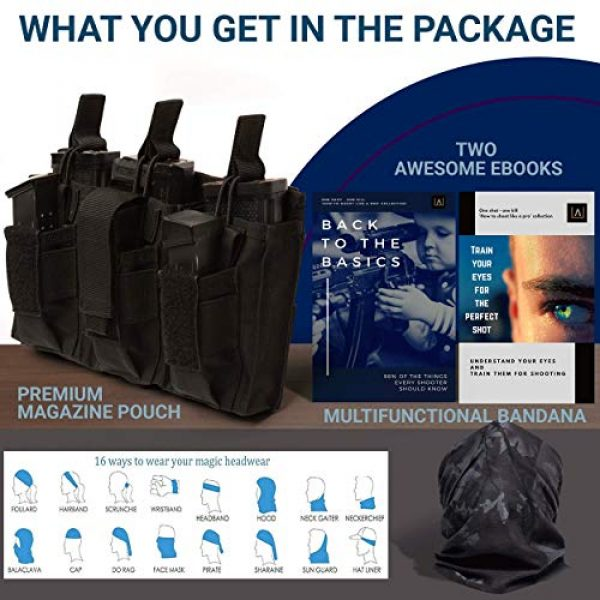 Antila Tactical Pouch 7 Antila Excelling Magazine Pouch for Pistol and Gun - High Speed, Secure and Durable. Bandana and 2 Great Ebooks Included