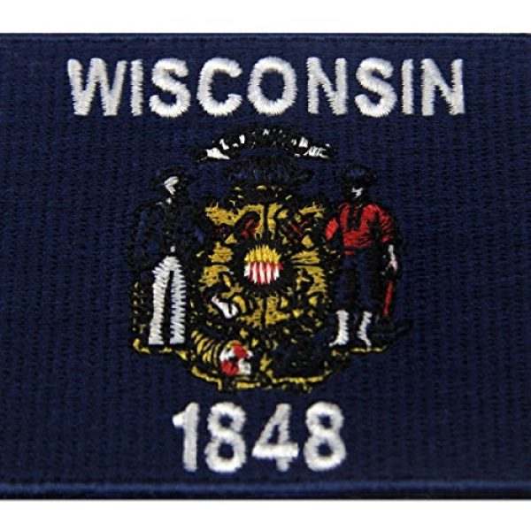 EmbTao Airsoft Morale Patch 2 Wisconsin State Flag Embroidered Emblem Iron On Sew On WI Patch