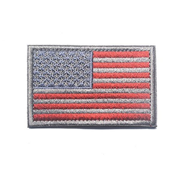 TopAAA Airsoft Morale Patch 1 Tactical Morale Tags Patch USA Flag Embroidered American Flag Patch Hook&Loop Fastener Backing Emblem, Red & Grey
