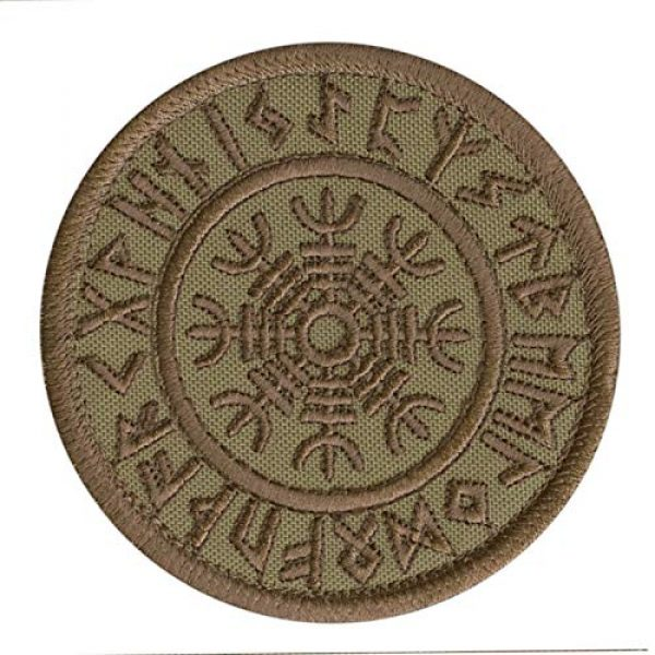 LEGEEON Airsoft Morale Patch 1 LEGEEON Tan Coyote Aegishjalmur Helm of Awe Viking Norse Runic Heathen Magical Stave Morale Tactical Fastener Patch