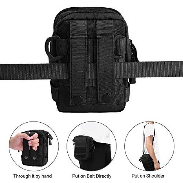 AIRSSON Tactical Pouch 5 AIRSSON Tactical Molle Pouch, 1000D Nylon EDC Belt Waist Pouch Molle Small Utility Gadget Gear Tool Black for Men