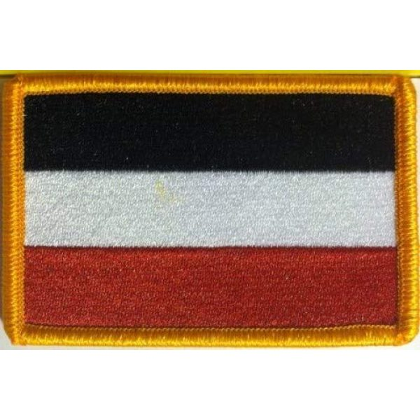 Fast Service Designs Airsoft Morale Patch 1 German Empire 1871 Flag Embroidered Patch with Hook & Loop Travel Morale Patriotic MC Biker Shoulder Gold Border Germany Emblem #80