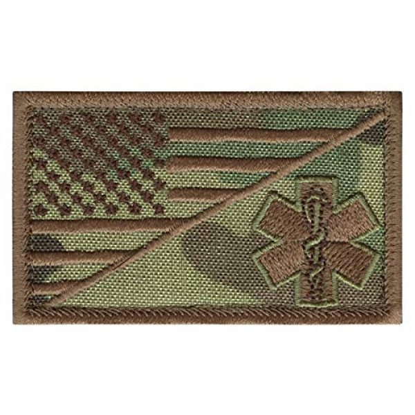 LEGEEON Airsoft Morale Patch 1 LEGEEON Multicam EMS EMT Star of Life USA Flag Paramedic Medical Morale Tactical Army Gear Hook&Loop Patch