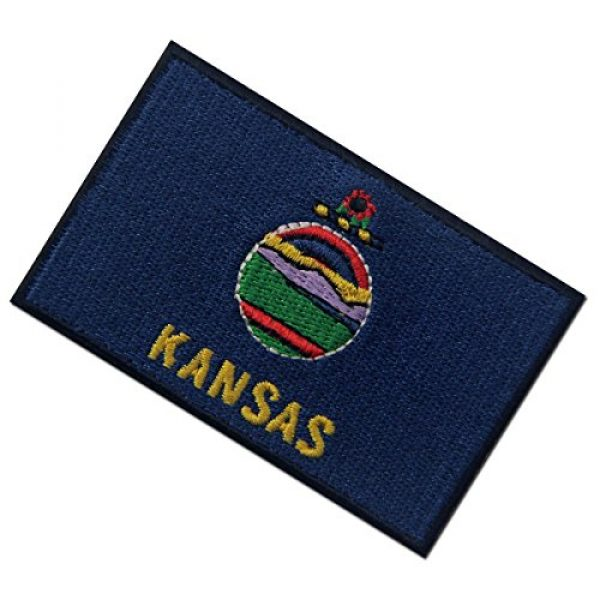 EmbTao Airsoft Morale Patch 4 Kansas State Flag Embroidered Emblem Iron On Sew On KS Patch