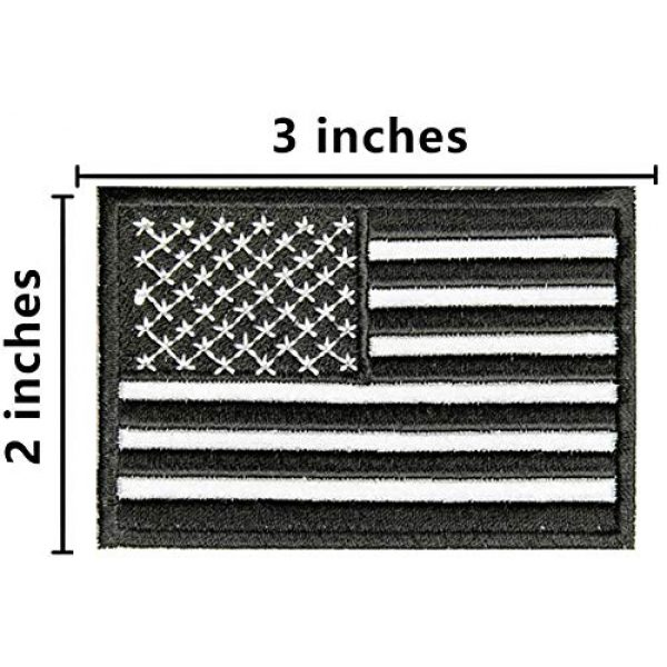 ASA Techmed Airsoft Morale Patch 2 ASA Techmed 4 Pack Black and White US USA Flag Embroidered Patch Military Iron On Sew On Tactical Morale Patch for Hats Backpacks Caps Jackets + More