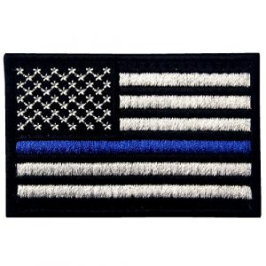 EmbTao Airsoft Morale Patch 1 Tactical Embroidered Thin Blue Line USA Flag Fastener Hook & Loop Patch