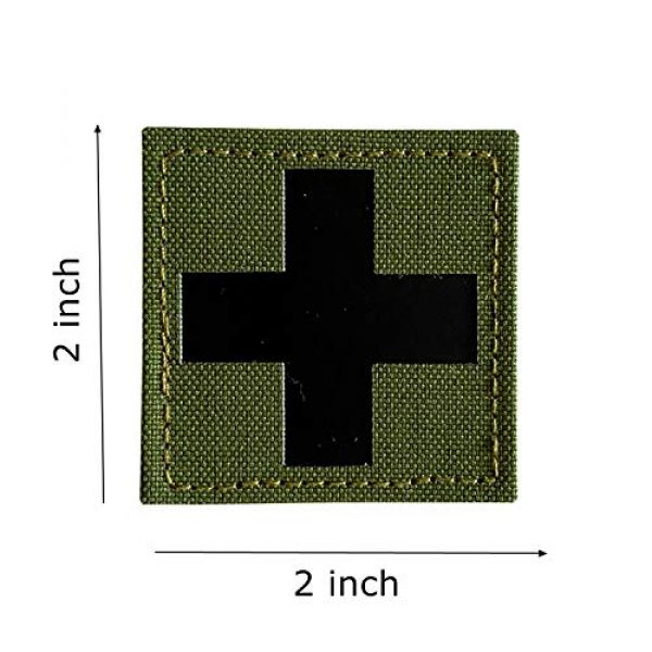Hannah Fit Airsoft Morale Patch 2 1 Pieces Infrared IR Reflective Medic Cross Multicam MED Medical EMS EMT Tactical Patch Fastener Patch Hook/Loop 2x2 inch (OD Green)