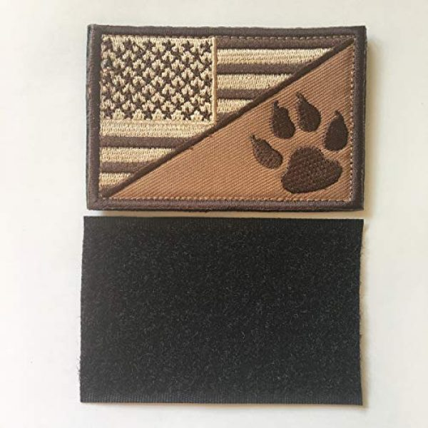 Xunqian Airsoft Morale Patch 5 USA American Flag w/Dog Tracker Paw Embroidered Applique Hook & Loop Patch (D-Bundle 2pcs Brown,Black)