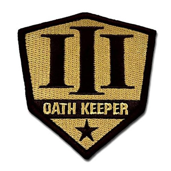 BASTION Airsoft Morale Patch 1 BASTION Morale Patches (Oath Keeper, Tan) | 3D Embroidered Patches with Hook & Loop Fastener Backing | Well-Made Clean Stitching | Military Patches Ideal for Tactical Bag, Hats & Vest