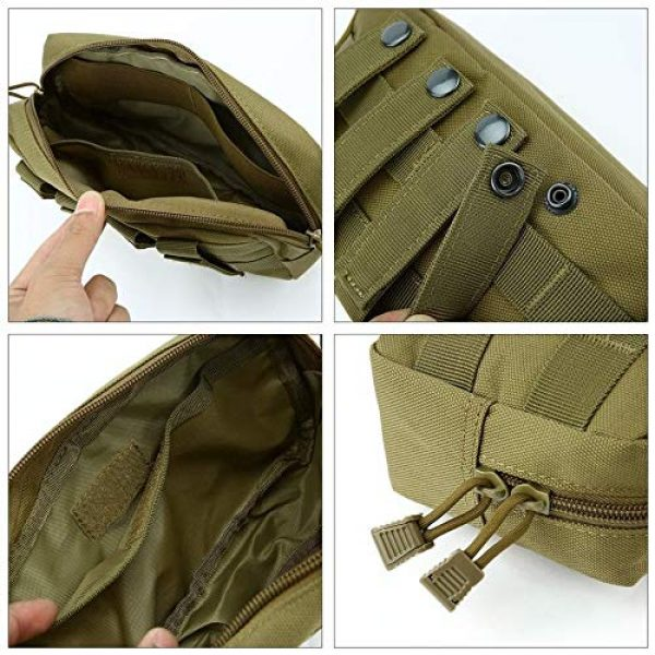 anyilon Tactical Pouch 5 anyilon Multifunction Tactical Molle Pouch Zipper Closure Large Waist Pack Outdoor Backpack Attachment Camping Hiking Pouch