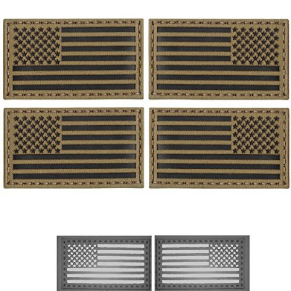 Tactical Freaky Airsoft Morale Patch 1 Tactical Freaky Bundle Set of 4 Coyote Brown Infrared IR USA American Flags Forward Reversed Morale Fastener Patches