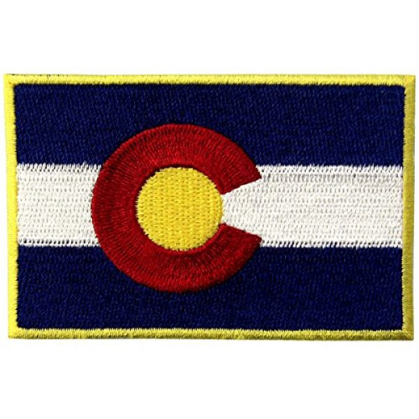 EmbTao Airsoft Morale Patch 1 Colorado State Flag CO Emblem Embroidered Iron On Sew On Patch