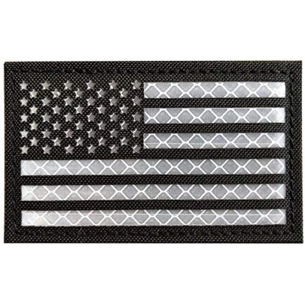 """Backwoods Barnaby Airsoft Morale Patch 1 American Flag USA Reflective Tactical Vest Patch with Hook & Loop (Black & White, 2"""" x 3.25"""")"""