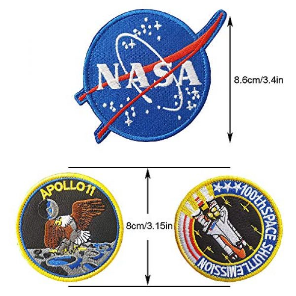 CN11011 Airsoft Morale Patch 2 6 Pieces NASA Patches Hook and Loop Backing Tactical Us Flag NASA Logo 100th Space Shuttle Mission with Sew On Morale Lot Military Embroidered Patches Tactical Flag Patch
