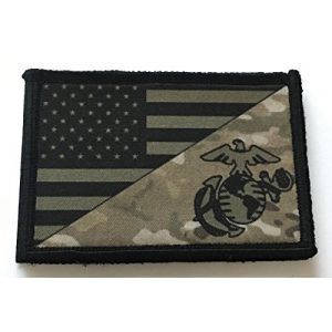 """RedheadedTshirts Airsoft Morale Patch 1 USMC Marine Corps USA Flag (Multicam) Morale Patch 2x3"""" Hook and Loop. Made in The USA"""
