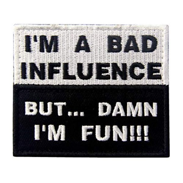 """Antrix Airsoft Morale Patch 1 Antrix I'm A Bad Influence But Damn I'm Fun Hook and Loop Fastener Emblem Patch Embroidered Funny Badge Morale Patch -3.15""""x2.5"""""""