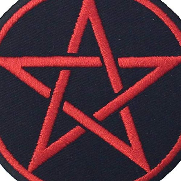 EmbTao Airsoft Morale Patch 2 Goth Pagan Symbols Pentagram Patch Embroidered Appique Iron On Sew On Emblem