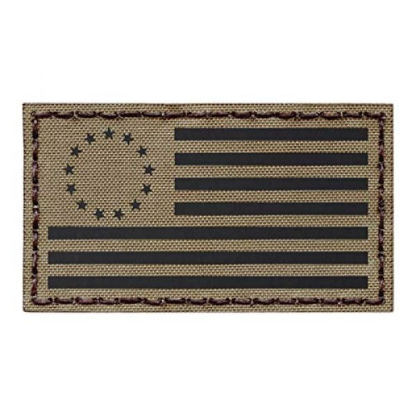 Tactical Freaky Airsoft Morale Patch 1 IR Tan Betsy Ross USA American Flag 2x3.5 Coyote Subdued IFF Tactical Morale Hook&Loop Patch