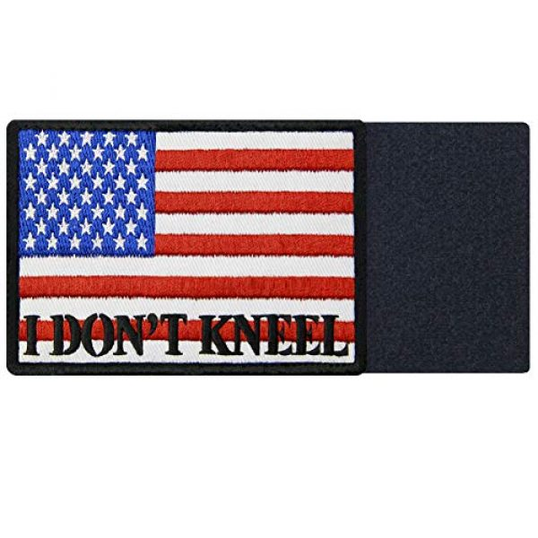 EmbTao Airsoft Morale Patch 5 I Don't Kneel for The Anthem USA Flag Morale Tactical Patch Embroidered Applique Fastener Hook & Loop Emblem