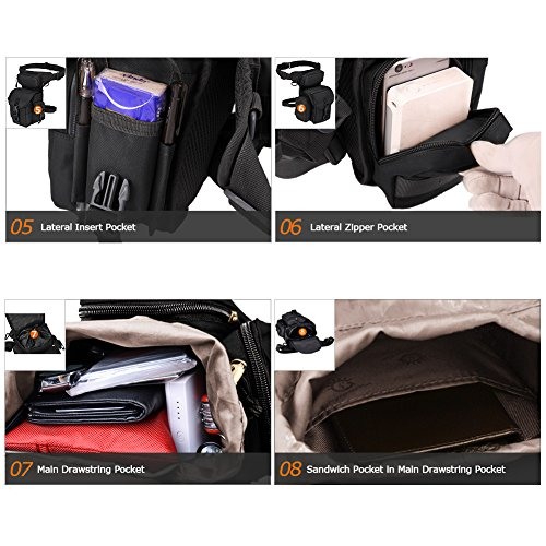 MAXTRA Tactical Pouch 6 MAXTRA Military Tactical Drop Leg Bag Tool Fanny Thigh Pack Leg Rig Utility Pouch Paintball Airsoft Motorcycle Riding Thermite Versipack, Black